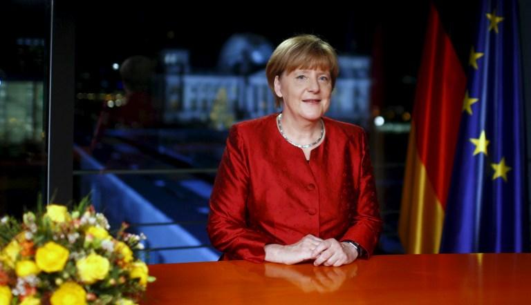 La chancelière allemande Angela Merkel lors de son discours de Nouvel An enregistré le 30 décembre 2015