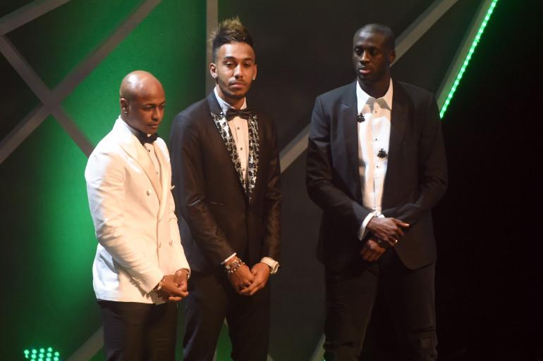 Yaya Touré (à droite) a terminé derrière Pierre-Emerick Aubameyang et devant André Ayew (à gauche) à l'élection du Joueur africain de l'année