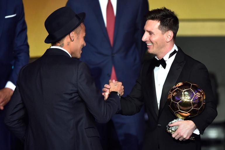 Lionel Messi et Neymar lors de la cérémonie du Ballon d'Or, le 11 janvier 2015