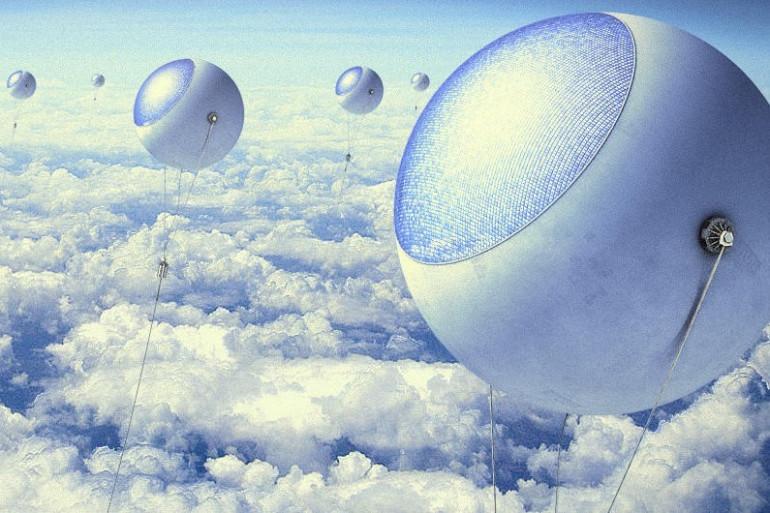 Vue d'artiste d'une ferme solaire volante /  2015-2016 PixScience.fr/ Grégoire CIRADE pour CNRS Le Journal