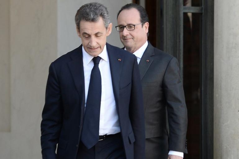 Nicolas Sarkozy et François Hollande à l'Élysée, le 15 novembre 2015.