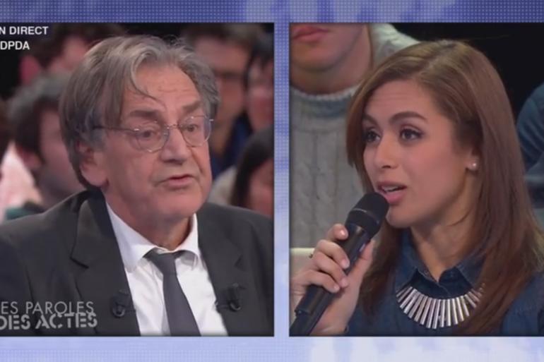 """Alain Finkielkraut et une enseignante dans """"Des paroles et des actes"""" le 21 janvier 2016"""