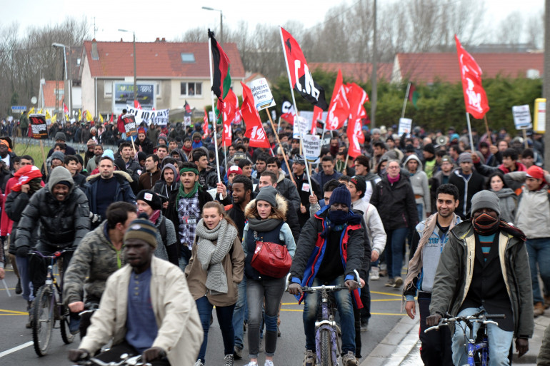 Une manifestation en soutien aux migrants de Calais le 23 janvier