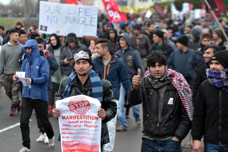 Manifestation de soutien aux migrants de la jungle de Calais samedi 23 janvier 2016