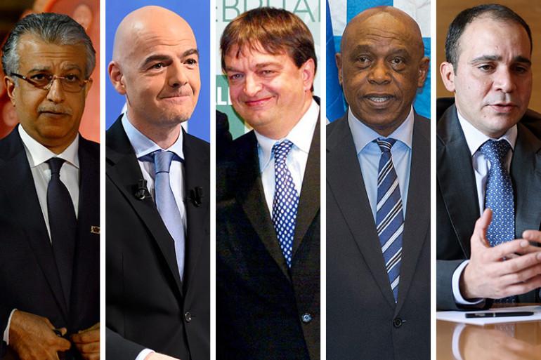 De gauche à droite : le Cheikh Salman, Gianni Infantino, Jérôme Champagne, Tokyo Sexwale et le Prince Ali de Jordanie, les cinq candidats à la succession de Sepp Blatter
