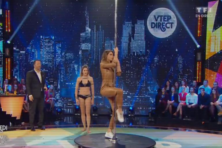 Laury Thilleman chute d'une barre de pole dance en direct sur TF1