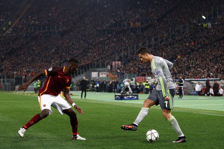 Cristiano Ronaldo le 17 février 2016 sur la pelouse du Stade Olympique de Rome