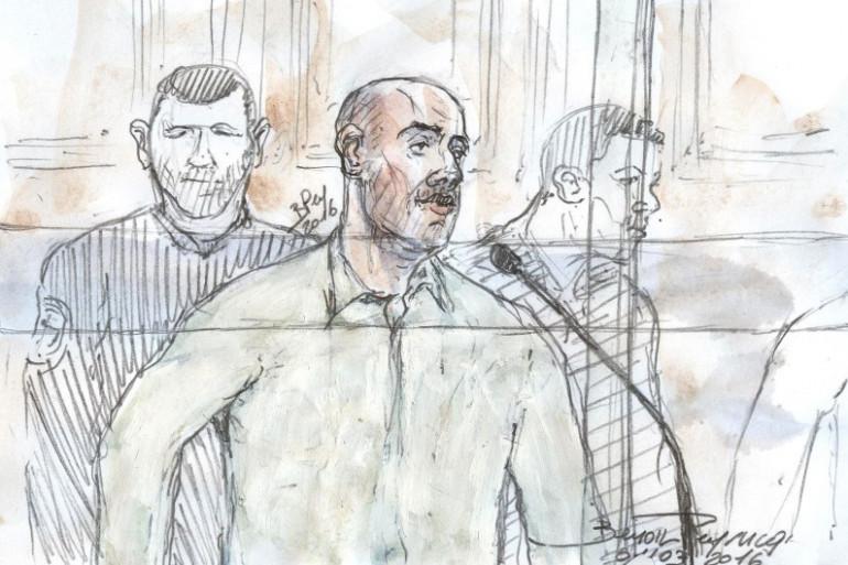 Redoine Faïd lors du premier jour d'audience au procès du meurtre d'Aurélie Fouquet, le 1er mars 2016
