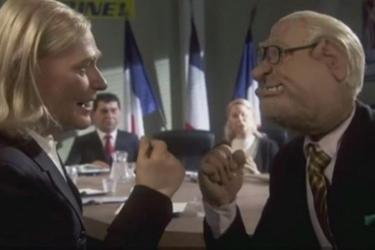 Extrait du sketch polémique des Guignols sur Jean-Marie et Marine Le Pen