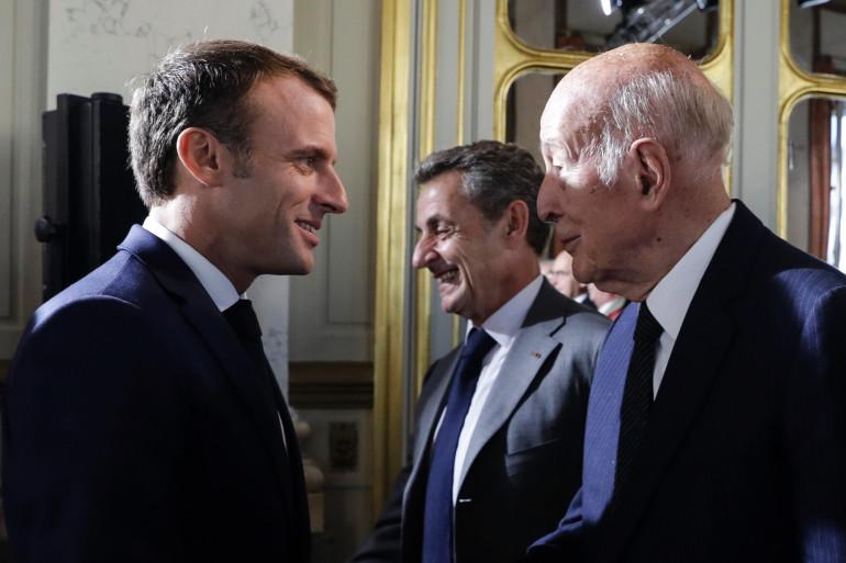 Emmanuel Macron, Nicolas Sarkozy et Valéry Giscard d'Estaing lors d'une rencontre au Conseil constitutionnel, le 4 octobre 2018.