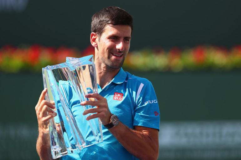 Novak Djokovic lors de sa victoire du Masters 1000 d'Indian Wells 2016