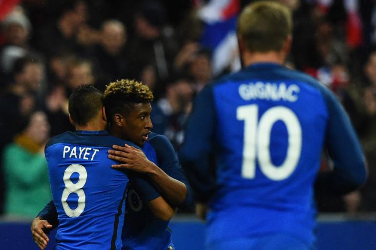 Kingsley Coman, Dimitri Payet et André-Pierre Gignac lors de la victoire des Bleus face à la Russie (4-2), le 29 mars 2016
