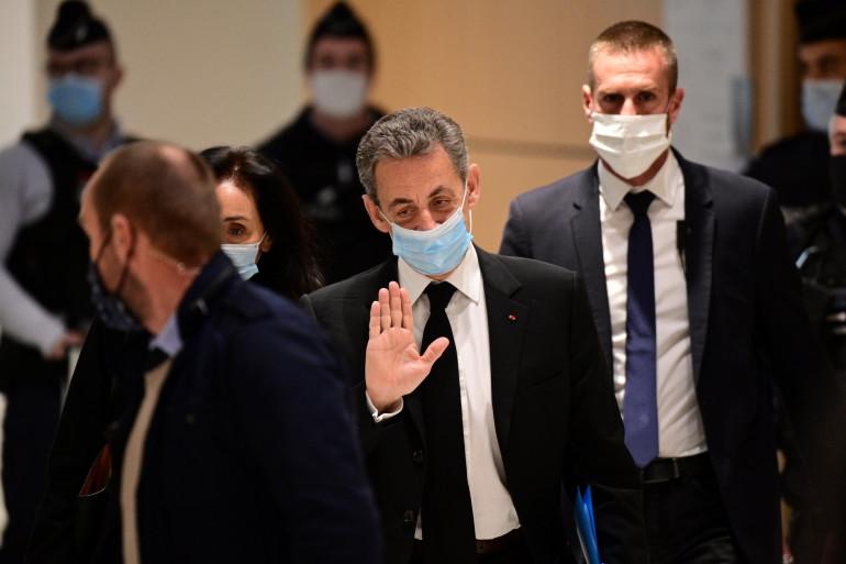 """Nicolas Sarkozy,  lors du procès dans l'affaire des """"écoutes"""", le 7 décembre 2020"""