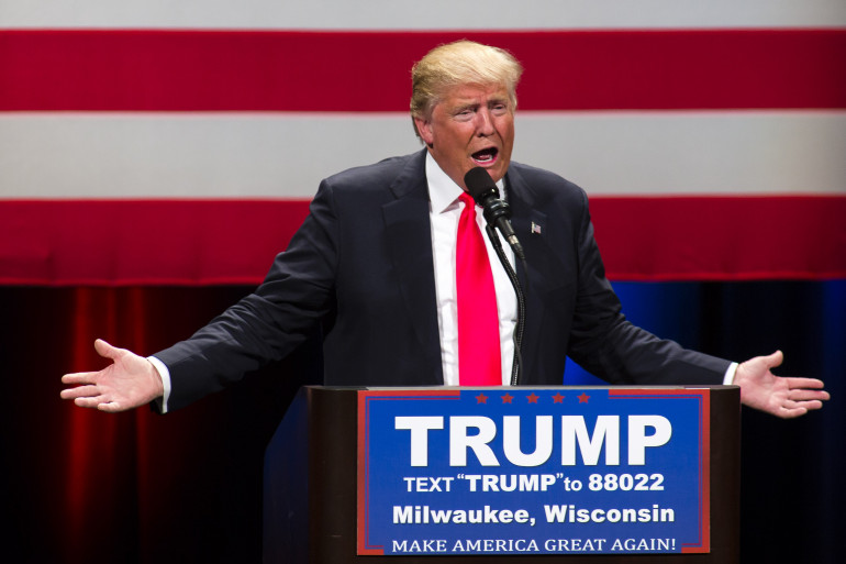 Donald Trump lors d'un meeting dans le Wisconsin, le 4 avril 2016
