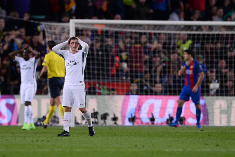 Marco Verratti et les Parisiens abattus le 9 mars 2017 au Camp Nou