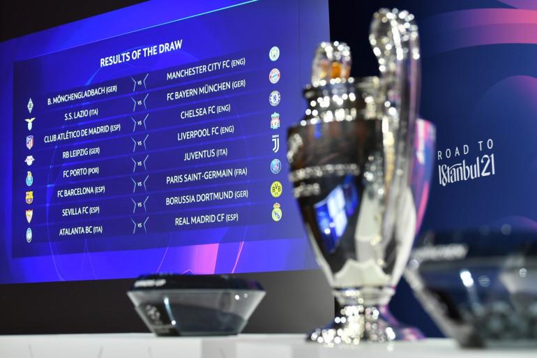 Le trophée de la Ligue des champions à Nyon le 14 décembre 2020