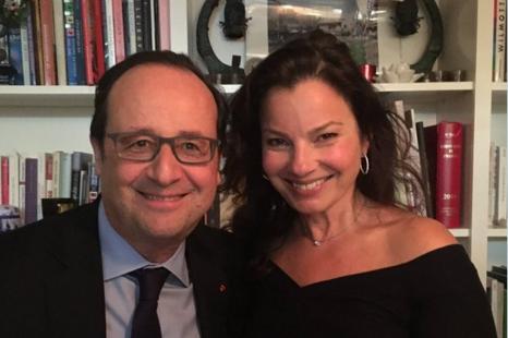 Fran Drescher et François Hollande lors d'un dîner