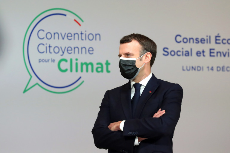 Emmanuel Macron face à la Convention citoyenne pour le climat le 14 décembre 2020