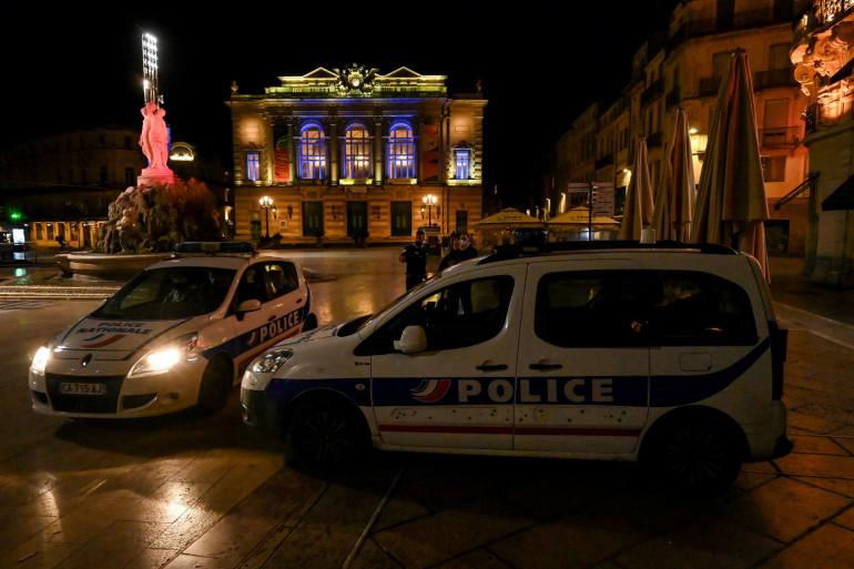 Les forces de l'ordre déployées pendant le premier couvre-feu à Montpellier, le 17 octobre 2020.