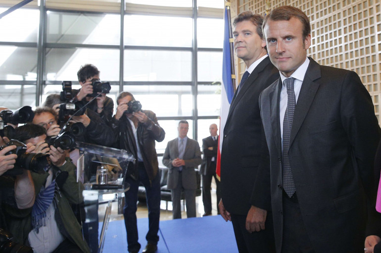 Arnaud Montebourg et Emmanuel Macron, à Bercy le 27 août 2014
