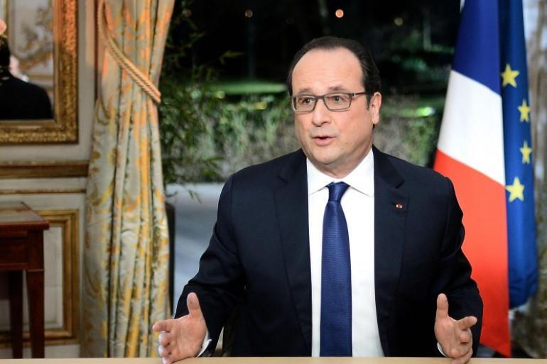 François Hollande lors de son interview télévisée du 11 février 2016 à l'Élysée