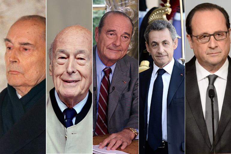 François Mitterrand, Valéry Giscard-d'Estaing, Jacques Chirac, Nicolas Sarkozy et François Hollande