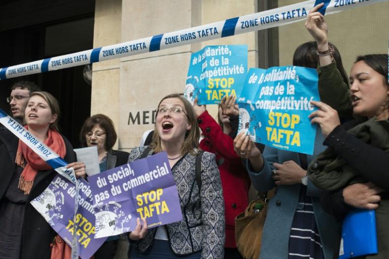 Des manifestants français anti-TAFTA