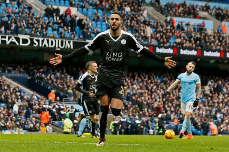 Riyad Mahrez le 6 février 2016 lors de Manchester City-Leicester