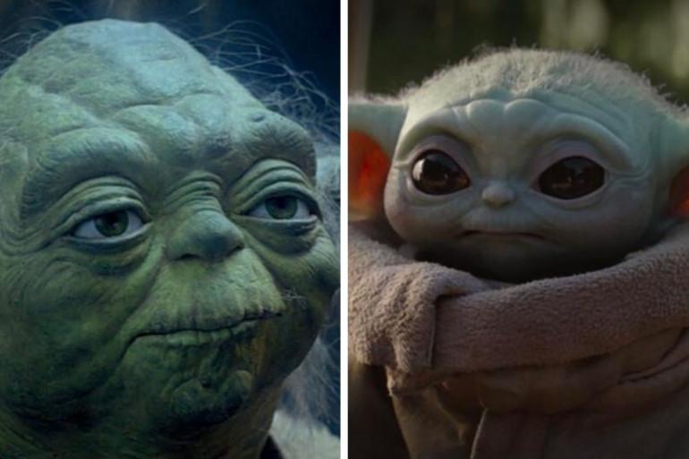 """Le Maître Jedi Yoda dans """"Le Retour du Jedi"""" et l'Enfant dans """"The Mandalorian"""""""