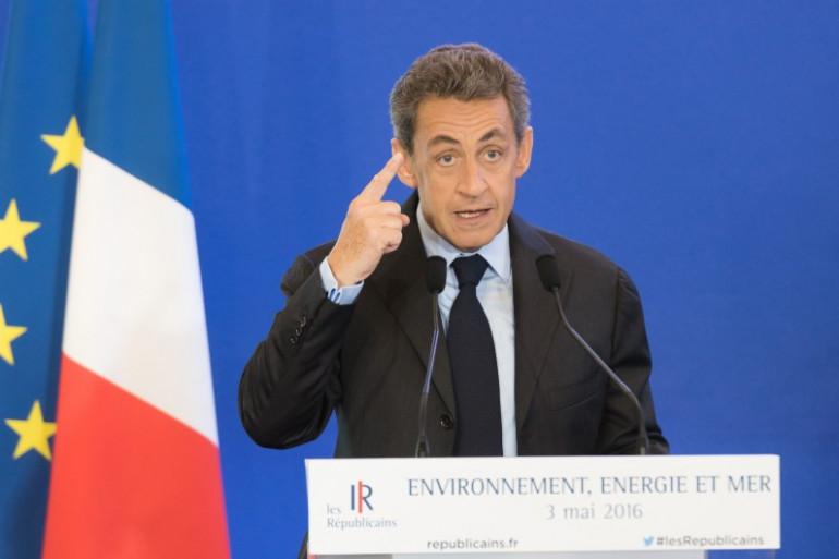 Nicolas Sarkozy lors d'un meeting sur l'environnement le 3 mai 2016.