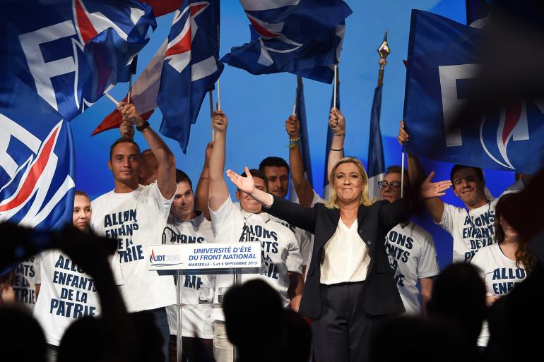 Marine Le Pen lors de l'université d'été du Front national, le 6 septembre 2015 à Marseille