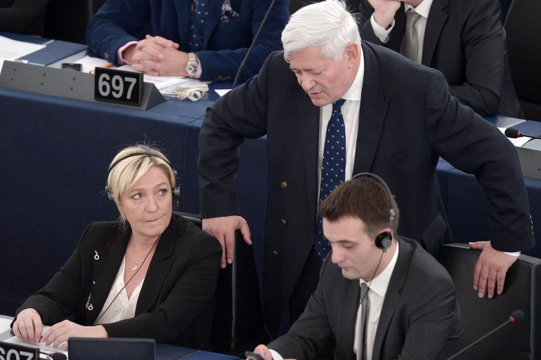 Marine Le Pen, Bruno Gollnisch et Florian Philippot au Parlement européen, le 29 avril 2015