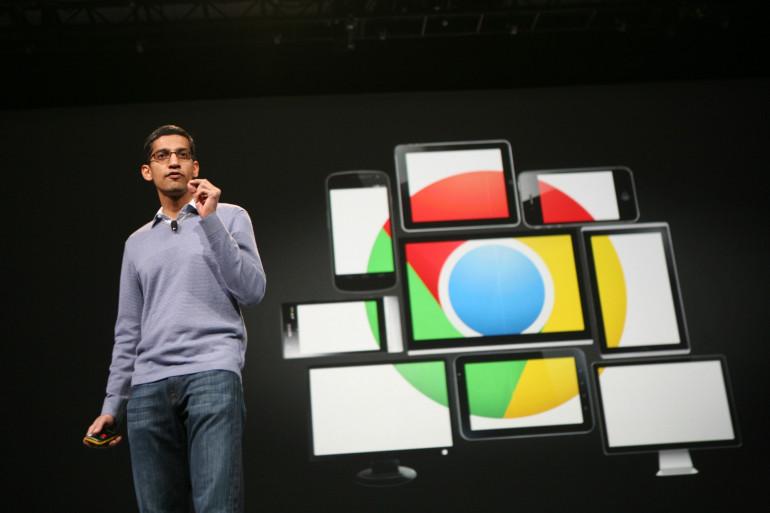 Le président de Google, Sundar Pichai, lors de la présentation du navigateur Chrome