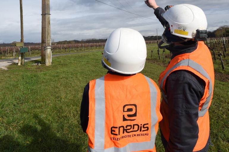 Des agents Enedis en Gironde, en janvier 2019.