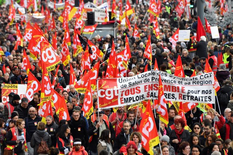 Le cortège CGT manifeste contre la réforme des retraites à Marseille (illustration)