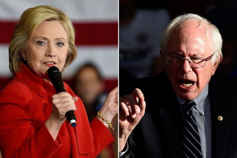Les candidats démocrates à l'élection américaine Hillary Clinton et Bernie Sanders