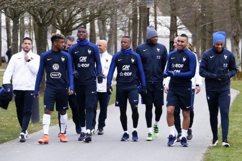 Les joueurs de l'équipe de France à Clairefontaine en 2016