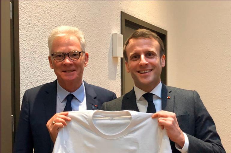 Jean-Marc Peillex, aux côtés d'Emmanuel Macron, lors de la visite du président de la République au Mont-Blanc.