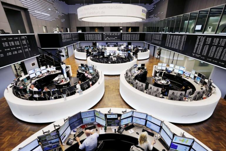 Une vue de la bourse de Francfort