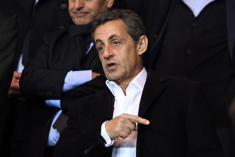 Nicolas Sarkozy au Parc des Princes en avril 2016 pour PSG-Manchester City