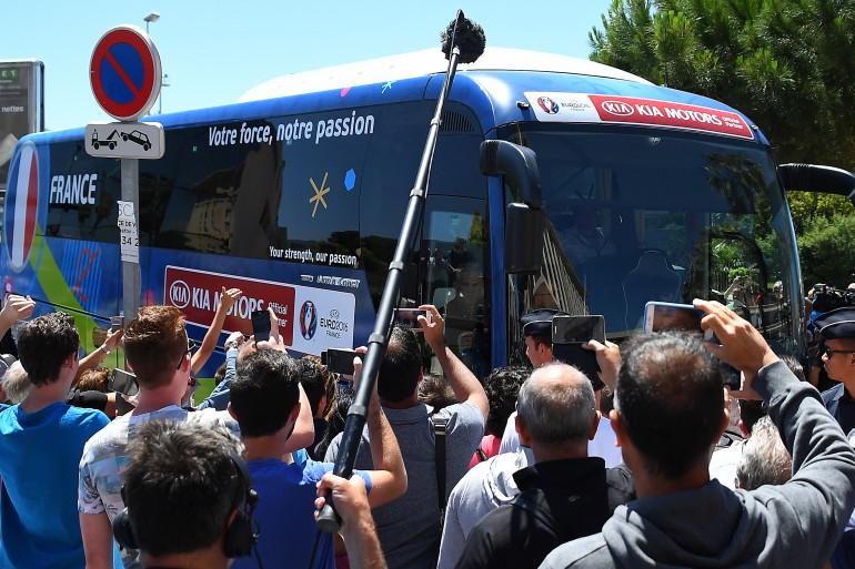 Le bus de l'équipe de France durant l'Euro 2016