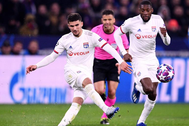 Houssem Aouar lors du 8e de finale aller contre la Juventus de Turin.