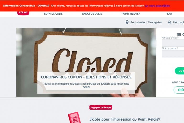 Page d'accueil de Mondial Relay, qui suspend toutes les livraisons de colis