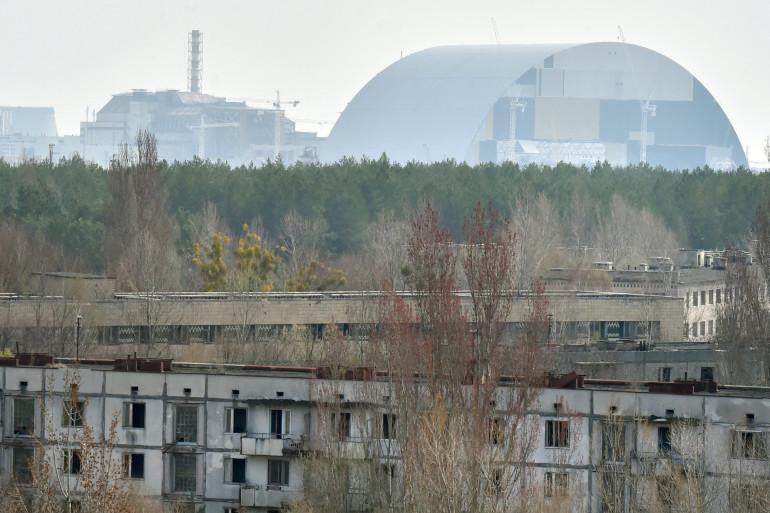 Vue globale de la centrale nucléaire de Tchernobyl.