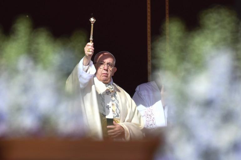 Le pape François célèbre la messe de Pâques, le 1er avril 2018.