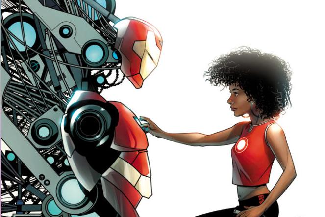 Riri Williams devant son armure, en couverture d'un comics Marvel.