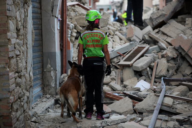 Des sauveteurs à la recherche des victimes du séisme qui a touché le centre de l'Italie à Amatrice, le 24 août 2016.