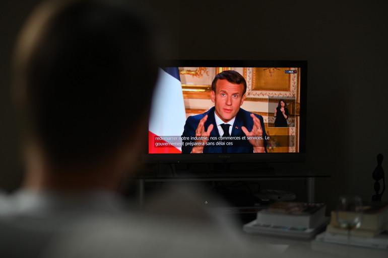 Emmanuel Macron, lors de son allocution du 13 avril 2020