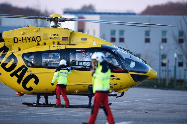 Un hélicoptère sanitaire allemand, devant l'hôpital de Metz-Thionville, le 23 mars 2020.