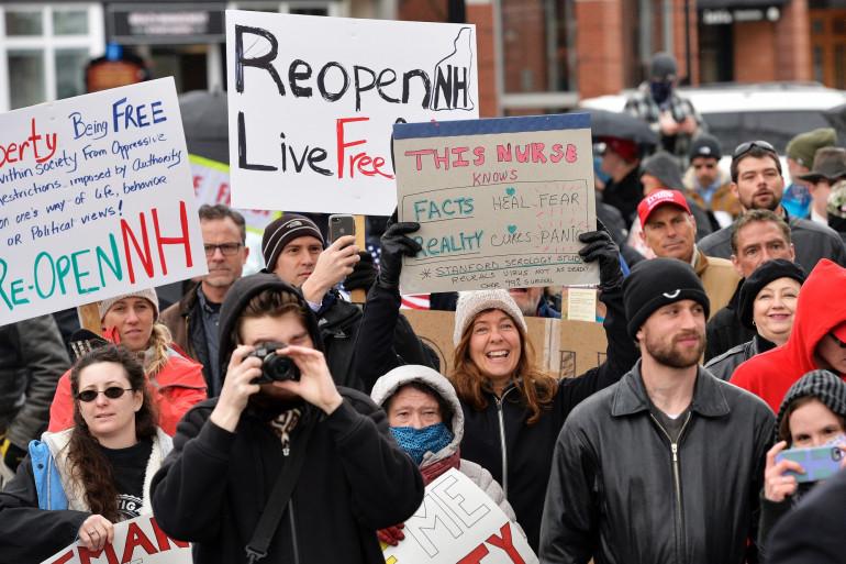 Une manifestation anti-confinement à Concord, dans le New Hampshire (États-Unis), le samedi 18 avril 2020.